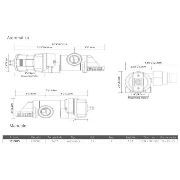 Rule Pompa Sentina Automatica LP900S - Promarine