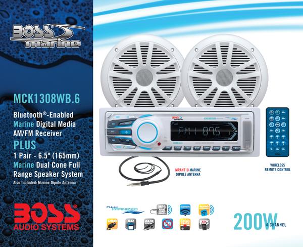 Boss Marine Stereo MCK1308WB.6 Package - Promarine